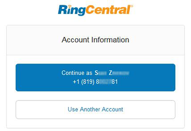 RingCentral account info